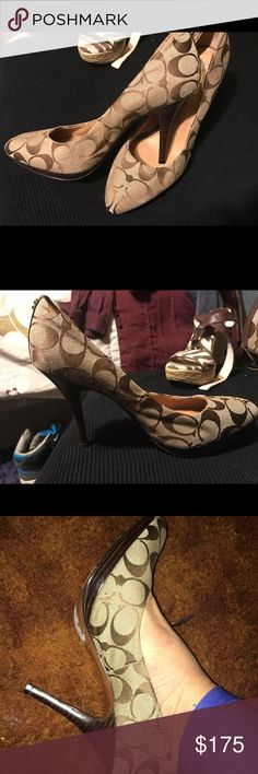 Coach Heels.Brown Coach Sneaks.Black Coach Sneaks Brown on Tan Coach heels.   NEW!!!! NEVER WORN. FLAWLESS!!!!!     Both pairs of sneakers are also new , never worn & Flawless Coach Shoes Heels