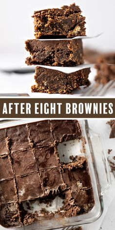 Fudgy, chocolatey after eight brownies. A delicious, rich chocolate fudge brownie base topped with a melted after eight mint chocolate layer. This is THE BEST after eight brownie recipe. These brownies literally taste like the brownie version of an after eight mint. #aftereights #aftereightbrownies #brownies Chocolate Fudge Brownies, Homemade Brownies, Best Brownies, Mint Chocolate, Chocolate Lovers, Chocolate Cookies, Chocolate Desserts, Fun Baking Recipes, Healthy Dessert Recipes