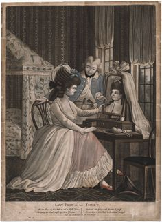 Call Number:  780.00.00.36+  Title:  Lady Friz at her toilet  Published:  [London] : Sold by W. Humphrey, No. 227 Strand, [1780?]  Description:  1 print : mezzotint, hand-colored ; sheet 37 x 27 cm.  Notes:  Title from item. | Date conjectured from costume.    Lewis Walpole Library