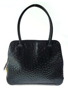 73623c4328 Aleda For Bloomingdales Genuine Black Leather Ostrich Croc Bag Handbag Purse