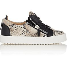Giuseppe Zanotti Women's Snakeskin-Stamped Double-Zip Sneakers-Colorle (£475) ❤ liked on Polyvore featuring shoes, sneakers, colorless, leather shoes, python sneakers, low profile sneakers, giuseppe zanotti sneakers and leather lace up shoes
