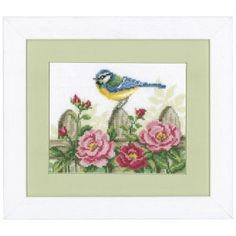 "Back Fence Visitor  ON THE FENCE! Perched atop a weathered picket, this garden visitor is a cheerful sight! Counted cross stitch kit includes 14-count white Aida cloth, presorted DMC cotton floss, needle, chart and instructions. 7 1/4"" x 5 1/2"" without mat and frame. Imported from Belgium. A Stitchery exclusive!	      ****   Back Fence Visitor  Item #: T22412  Price: $29.99"