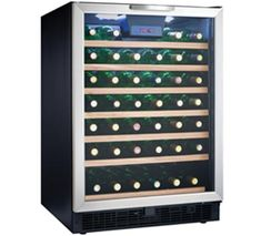 Danby Designer - 50 Bottle Built-In Wine Cooler - Temperature range of F. Precise digital thermostat with LED display allows the temperature to be accurately set and monitored through the door. Built In Wine Refrigerator, Wine Fridge, Stainless Steel Doors, Black Stainless Steel, Built In Wine Cooler, Interior Led Lights, Tempered Glass Door, C 18, Wine Collection