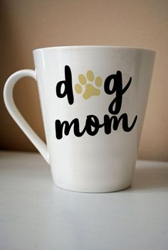 This listing is for one laser-cut decal that reads Dog Mom (pictured above on a coffee mug). Application is simple, as the decal will arrive in one easy-to-apply transfer sheet that facilitates application. Instructions will be included. The self-adhesive Continental Bulldog, Mom Pictures, Little Presents, Vinyl Projects, Adhesive Vinyl, Dog Gifts, Gifts For Dog Lovers, Girls Best Friend, Coffee Cups