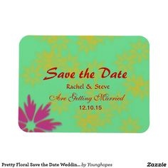 Pretty Floral Save the Date Wedding Magnet