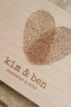 Custom wedding guest book wood rustic wedding guest book album bridal shower engagement anniversary - Fingerprint Heart. $40,00, via Etsy.