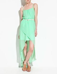 fun minty bright dress with open asymmetrical hemline, way above the knees in front and all the way to the heels in back