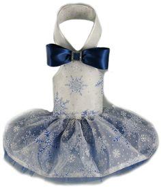 Snowflake Halter Formal Dog Dress- Blue/Silver