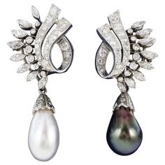 Pearl Diamond GIA Drop Earrings   From a unique collection of vintage drop earrings at https://www.1stdibs.com/jewelry/earrings/drop-earrings/