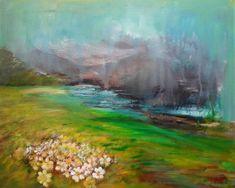 Original Landscape Painting by Elena Ivanova Rain Painting, Rain Go Away, Spring Landscape, Green Fields, Impressionism Art, Saatchi Art, Contemporary Art, Original Paintings