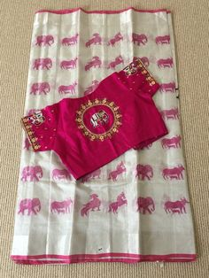Your place to buy and sell all things handmade Pattu Saree Blouse Designs, Blouse Designs Silk, Designer Blouse Patterns, Bridal Blouse Designs, Kids Blouse Designs, Simple Blouse Designs, Stylish Blouse Design, South Indian Sarees, Ethnic Sarees