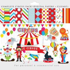 Circus clipart - circus clip art, lion, elephants, clowns, lion tamer, seal, balls, circus digital papers for personal and commercial use