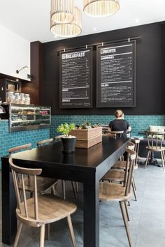 Point Blank Cafe - Kate Abdou Design - black walls with turquoise tiles Concept Restaurant, Café Restaurant, Restaurant Design, Coffee Shop Design, Cafe Design, Retail Interior, Cafe Interior, Commercial Interior Design, Commercial Interiors