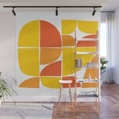 Mid Century Modern Yellow Square Wall Mural by The Old Art Studio - X Geometric Wall Art, Colorful Wall Art, Ceiling Design, Wall Design, Removable Wall Murals, Bedroom Decor, Wall Decor, Office Nook, Retro Design
