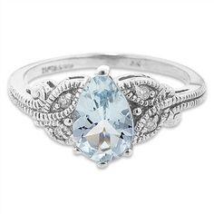 10K White Gold Aquamarine and .05cwt Diamond Ring #aquamarine #jewelry #marchbirthstone #ring