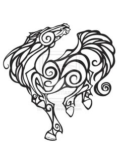 'tribal horse'  lots of 's' curve lines and spirals