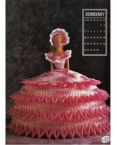 Miss February 1991 Annies Calendar Bed Doll Society  Fashion Doll  Crochet Pattern  Annies Attic 7402.