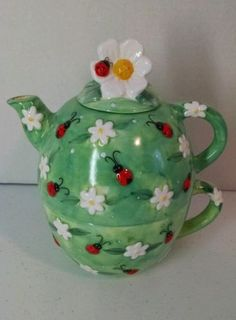 3-Piece-Ceramic-Teapot-Cup-All-In-One-Green-with-Ladybugs-Peggy-Jo-Ackley