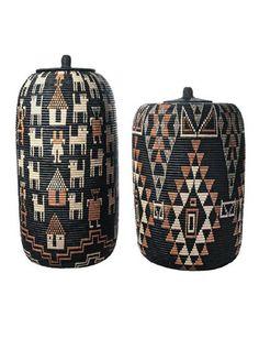 Africa | Two baskets woven by South African weaver, Angeline Bonisiwe Masuko | Handwoven; Ilala palm