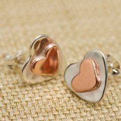 Gold And Silver Heart Studs In Personalised Box copper and silver heart stud earrings by carole allen silver jewellery Silver Jewelry Box, Silver Jewellery Indian, Sterling Silver Earrings Studs, Heart Jewelry, Sea Glass Jewelry, Copper Jewelry, Silver Bracelets, Stud Earrings, Gold Jewellery