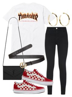 """Untitled"" by whoiselle ❤ liked on Polyvore featuring Yves Saint Laurent, Gucci, J Brand, Jennifer Fisher and Vans"