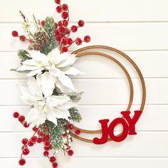 JOY wreath – embroidery hoop wreath – wreath DIY – make your own wreath - Dollar tree christmas diy Wreath Crafts, Diy Wreath, Christmas Projects, Christmas Crafts, Christmas Ornaments, Wreath Ideas, Noel Christmas, Simple Christmas, Beautiful Christmas