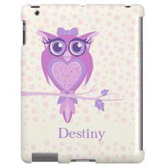 Cute girls owl purple & ivory ipad case