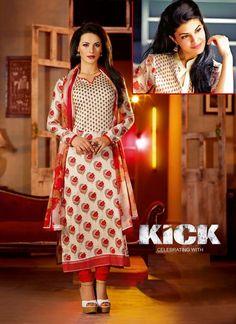 Cream Jacqueline Fernandez Kick Salwar Kameez
