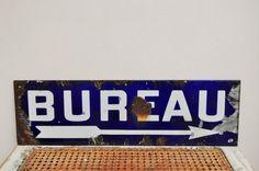 Blue enamel office sign  French vintage by LaBourgognedeNath