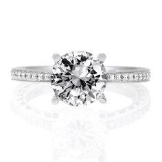18K White Gold Anadare Round Brilliant Lattice Micropave Diamond Band Engagement Ring by Ritani