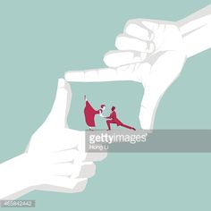 Vector Art : Couple dancing waltz in the finger frame