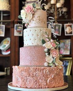 "Omar on Instagram: ""A fancy one ☝🏼 #👌🏼#😉 . . . #o4cake#fancycakesnj#cakelife . . . .…"" Bling Wedding Cakes, Elegant Wedding Cakes, Beautiful Wedding Cakes, Wedding Cake Designs, Wedding Cake Toppers, Beautiful Cakes, Blush Pink Wedding Cake, Rose Wedding Cakes, Rosegold Wedding Cake"