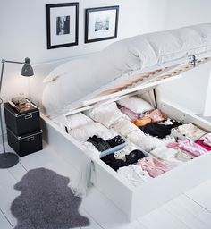 MALM bed from IKEA. I saw this for the first time in Spain last year (not at IKEA, in a mall lol). Very handy, but if you're loved one is still a sleep, it's not haha.