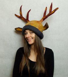 Cerf Costume chapeau - chapeau Animal en laine - bois Hat - main bois feutré LaRP Cosplay coiffure