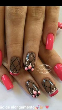 Attention to the semi-permanent varnish - My Nails Red Nail Designs, Creative Nail Designs, Simple Nail Art Designs, Creative Nails, Hot Nails, Pink Nails, Hair And Nails, Classic Nails, Flower Nails