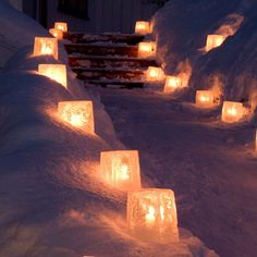 Dishfunctional Designs: A Beautiful Bohemian Christmas. Make ice lanterns and put candles inside. Bohemian Christmas, Noel Christmas, Winter Christmas, Christmas Lights, Christmas Decorations, Winter Snow, Christmas Parties, Outdoor Christmas, Swedish Christmas
