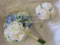 Blue and white peony bouquet image White Peonies Bouquet, Peony, Wedding Bouquets, Wedding Flowers, Bouquet Images, Artificial Flowers, Silk Flowers, Shades Of Blue, Wedding Designs