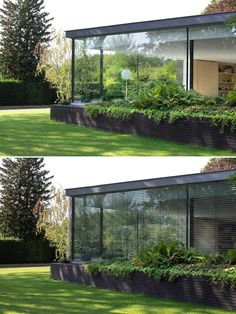 A modern home with large glass walls that fill the interior with an abundance of natural light.