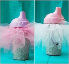 A pink tutu on a sippy cup makes the perfect party favor for a 1st birthday. See more first girl birthday party ideas at www.one-stop-party-ideas.com
