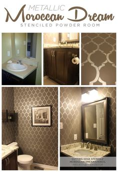 Use the Moroccan Dream Stencil in your powder room in a metallic to get this gorgeous look!