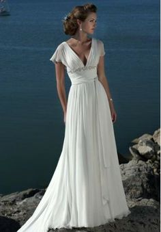 Chiffon V-Neck Empire Elegant Wedding Dress  It's difficlut to find one with sleeves that is still sexy and modern and stunning, but this totally is it!