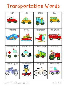 Writing Center Tools- Transportation Words and Transportation Transportation Activities, Preschool Activities, Work Activities, The Words, English Lessons, Learn English, Kindergarten Writing, Toddler Learning, Speech And Language
