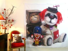 Rideau de douche Jules, ours d'artiste, french OOAK bear. http://www.adopte-un-ours.com/blog/objets-decoration-ours-tombe-etoiles/ Tenture en polyester, shower curtain, L'ours tombé des étoiles par Anne-Marie VERRON #ooakbear #oursdecollection #teddybear
