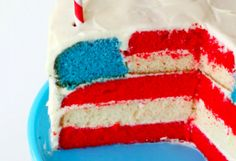 American flag cake. july 4th is my birthday, so perfect :)