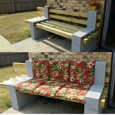 Simple and easy diy inspirations bench from cinder blocks - DecoRemodel Cinder Block Furniture, Cinder Block Bench, Lawn Furniture, Outdoor Furniture, Cinder Blocks, Outdoor Decor, Bench Block, Concrete Furniture, Garden Table