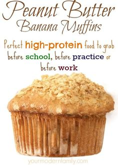 butter banana muffins recipe - healthy & high protein (quick snack or breakfast idea!)peanut butter banana muffins recipe - healthy & high protein (quick snack or breakfast idea! Healthy Muffin Recipes, High Protein Recipes, Protein Snacks, Healthy Baking, Healthy Snacks, High Protein Muffins, Quick High Protein Breakfast, Healthy Protein, Healthy Banana Muffins