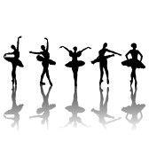 Cinque sagome di ballerini di balletto in diverse posizioni, illustrazione