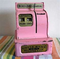 Vintage Candy Pink Enamel Metal Cash Register Bank, Industrial Chic for your Collection.