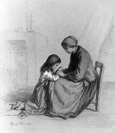 Pierre-Édouard Frère (1819-1886) Child Praying at Mother's Knee, 1864