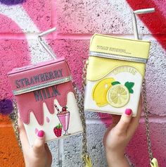 Kawaii Pink Strawberry Milk & Lemonade Mini Bag